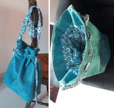 Sac seau Calypso cousu par Corinne - Tissu(s) utilisé(s) : Sac en Simili bleu pour moi - Patron Sacôtin : Calypso