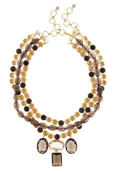 Bounkit 24-Karat Gold-Plated Citrine and Topaz Necklace