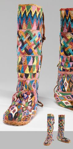 Africa | Royal boots from the Yoruba people of Nigeria and Republic of Benin | 19th century | Glass beads, cloth and leather