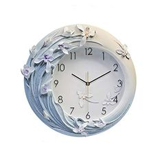 KUVV Punctual Blue Flowers Hand-Painted Relief Wall Clock Mute Creative Luxury European American Modern Art Resin Home Decorations 42 European American, American Modern, Best Alarm, Retro 4, Hanging Pictures, Blue Rings, Flower Fashion, Creative Decor, Ceramic Pottery