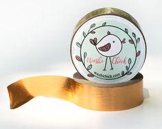 Copper Foil Washi Tape - 1 roll, 15mm x 10m, shiny scrapbook tape