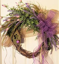 Country Lavender Wreath, bird house wreath, ladybug wreath, lavender wreath, country wreath, burlap deco mesh, Everyday wreath, front door by PetalsAndPaintbrush on Etsy