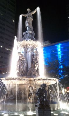 "Fountain Square- Cincinnati OH - The ""Genius of Water"" This fountain is tied to many happy memories going all the way back to my toddler days and throughout my life. My own babies were wheeled around this fountain in thier strollers. No matter where in the world we have lived, we always find our way back to Cincinnati and this lady!"