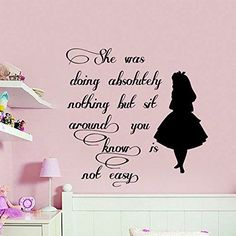 Wall Decals Quote Alice in Wonderland Decal Vinyl Sticker Nursery Bedroom Playroom Home Decor Interior Design Art Murals MN732 -- Learn more by visiting the image link.
