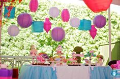 table setup with lanterns overhead