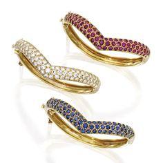Group of Three 18 Karat Gold and Gem-Set Bangle-Bracelets, Van Cleef & Arpels