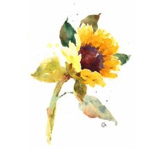 Watercolor Flower Original Floral Painting 7 x by CMwatercolors