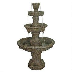 The European tradition of formal fountains lives on in this sophisticated, garden fountain whose cascading tiers, featuring lion heads, lend soothing water music to any garden. Water cascades from an acanthus urn crown and gently flows from each lion's head in dramatic cascades of sound. Enjoy the soft shimmer and sensuous tone of the splashing spray as this fountain takes its place as a magnificent centerpiece of your garden.