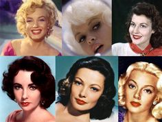 clockwise from top left; Marilyn Monroe, Jayne Mansfield, Ava Gardner, Lana Turner, Gene Tierney, Elizabeth Taylor.