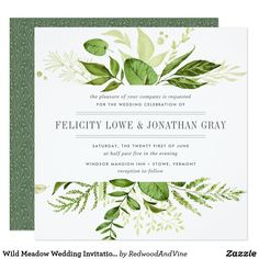 Our Wild Meadow rehearsal dinner invitation in a unique square format frames your ceremony rehearsal and celebration details with a top and bottom border of painted watercolor greenery and foliage in lush shades of spring green, olive and fern. Square Wedding Invitations, Botanical Wedding Invitations, Watercolor Wedding Invitations, Wedding Invitation Cards, Bridal Shower Invitations, Custom Invitations, Invitation Ideas, Invitation Templates, Wedding Stationery