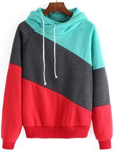 Women+Hooded+Drawstring+Red+Grey+Sweatshirt+17.33