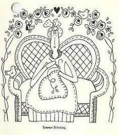 Lady Sewing From the Gingham Girls Quilt by Red Brolly. Hand Embroidery Patterns, Applique Patterns, Vintage Embroidery, Embroidery Applique, Cross Stitch Embroidery, Machine Embroidery, Stitch Patterns, Red Brolly, Needlework