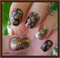 Lillibit´s Nail Art World: RETO COLORES II (Marrón): Flores Q-Girl 013