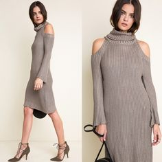 """""""Dyed Carnations"""" Knitted Turtleneck Sweater Dress Knitted cold shoulder turtleneck dress. Available in hunter green and taupe. This listing is for the TAUPE. Brand new. True to size. 100% rayon. NO TRADES DON'T ASK. PRICE FIRM. Bare Anthology Dresses Mini"""