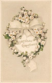 Birthday postcard ~ lily of the valley & white bow