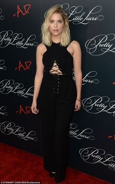 Cinched: Also rocking the red carpet was Hale's co-star Ashley Benson, wearing a bizarre b...