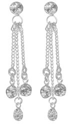 Rhinestone Earrings are 1 1/2 inches long. All rhinestones measure 4mm. The top rhinestone hoops to 3 individual dangles with a rhinestone on each end. Earring backs are barrel type with hypo-allergenic posts. Silver Plated.#earrings#long earrings#dangle earrings#bridal earrings#bridal jewelry#bridesmaids jewelry#bridesmaids earrings#rhinestone earrings prom earrings#earrings for prom#wedding earrings#silver earrings