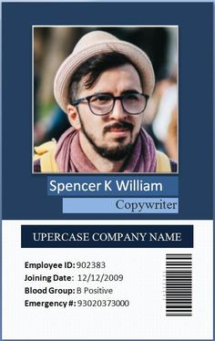 Employee card with bar code