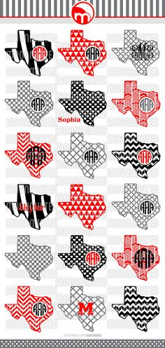 Texas SVG Cut Files - Monogram Frames for Vinyl Cutters, Screen Printing, Silhouette, Die Cut Machines, & More