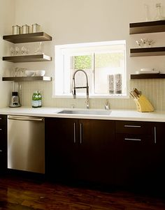 kitchen open shelving | Kitchen Makeover Tips from Jeff Lewis - Easy Kitchen Decorating Ideas ...