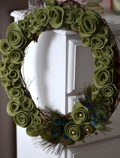 Natural Felt Flower Peacock Wreath by Thread Owl on Etsy, $35.99