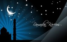 Greetings design on holy Ramadan with silhouette mosque and fluorescent moonlight night theme with ray of lights. Enjoy!!
