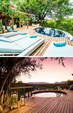 AM Lodge is an award-winning lodge in Limpopo that offers a spectacular African experience. Lodges, South Africa, Swimming Pools, African, Sky, Outdoor Decor, Summer, Swiming Pool, Heaven