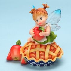 My Little Kitchen Fairies from Enesco Girl Sitting on Apple Pie Figurine 4.25 IN - http://cutefigurines.net/my-little-kitchen-fairies/my-little-kitchen-fairies-from-enesco-girl-sitting-on-apple-pie-figurine-4-25-in/