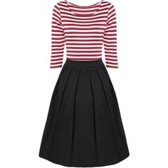 Striped Pleated A Line Dress (200 SEK) ❤ liked on Polyvore featuring dresses, rosegal, striped dress, striped pleated dress, stripe dresses, a line silhouette dress and pleated dress