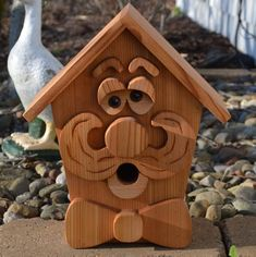 Large Gentleman Cedar Birdhouse with Flush Mount Hardware, Whimsical Birdhouse, Cedar Bird Feeder, W Pick Up, Box Photo, Cool Bird Houses, Scroll Saw Patterns Free, Little Library, Wood Carving Patterns, Bird Boxes, Popular Woodworking, Bird Feeders
