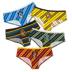 You can't change your Hogwarts house, but you can and should change your underwear every day! Wear the colors of the house that suits your mood each day with this 5-pack of Harry Potter themed panties. Exclusively available from ThinkGeek!