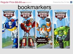 25% off SALE Instant Download Digital rescue bots Printable Birthday Party bookmarkers