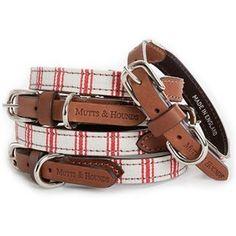 Mutts & Hounds Cranberry Ticking Collar