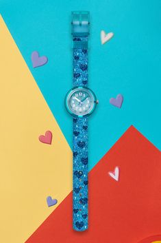 One of our best analogue watch designs for kids, this is a great gift idea that would last a little time-teller long into the future. The TURQUOISE SPARKLE (ZFPNP064) is a real work of art, combining a metallic blue colour with soft turquoise hearts and glitter. The transparent case is shock resistant for lasting protection, while the digital printed dial is sharp and clear to make using it as easy as possible. Metallic Blue, Great Gifts, Hearts, Sparkle, Glitter, Turquoise, Colour, Watches, Future