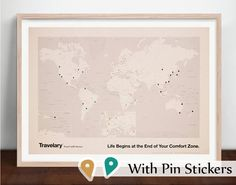 Travel World Map with Pin Stickers on Etsy, $22.95