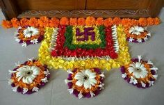 Diwali and Festive decor. Ganapati Decoration, Indian Rangoli, Diwali Rangoli, Diwali Decorations At Home, Floral Decorations, Festival Decorations, Wedding Decorations, Flowers Decoration, Flower Rangoli