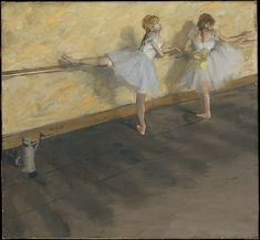 Edgar Degas - Dancers Practicing at the Barre - Mixed media on canvas - dated: 1877 - Courtesy The Metropolitan Museum of Art New York Edgar Degas, Canvas Art Prints, Fine Art Prints, Framed Prints, French Artists, Modern Artists, Degas Dancers, Ballet Painting, European Paintings