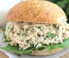 These easy Crock Pot Chicken Caesar Sandwiches are a snap to make! A quick, easy, healthy dinner that'll have the whole family asking for seconds! ~ from Two Healthy Kitchens at www.TwoHealthyKitchens (Crockpot Chicken Whole) Crock Pot Slow Cooker, Crock Pot Cooking, Slow Cooker Chicken, Slow Cooker Recipes, Cooking Recipes, Budget Cooking, Food Budget, Crock Pots, Chicken Caesar Sandwich