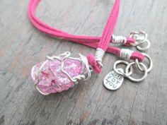 Quartz Necklace  Crackle Quartz Pendant  Pink by EarthChildArt