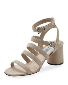S0GNZ Prada Suede Multi-Strap 65mm Sandal