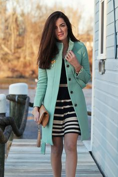Our Joanna sweaterdress looking lovely paired with this Robins Egg Blue coat on Classy Girls Wear Pearls