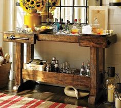 Side table - rustic - could make with scrap wood. Love the towel rack detail.