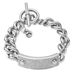 """Pave Bar Silver Tone Plated Metal Link Chain Bracelet 8.5"""" Ring & Toggle Closure #MK #Link"""