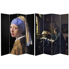 A wonderful screen for fans of Johannes Vermeer, considered to be one of the greatest painters of the Dutch Golden Age. One side features the Girl with the Pearl Earring, recently featured in the book and movie of the same name. The other side features the Astronomer, a great piece for the scientist in your life.