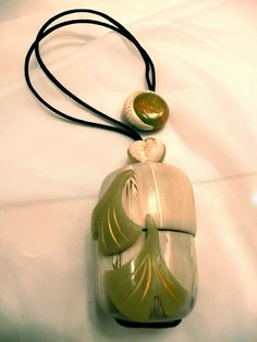 Polymer clay Inro, faux Ivory/Jade  (Japanese Purse)