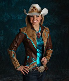 Amy Wilson, Miss Rodeo America 2008 wears a brown lamskin jacket over a turquoise metallic camisole Cowgirl Look, Sexy Cowgirl, Cowgirl Chic, Cowgirl Hats, Gypsy Cowgirl, Country Fashion, Country Outfits, Country Girls, Rodeo Queen Clothes