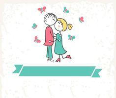 #beijo #apaixonados #menino #menina #faixas #borboletas