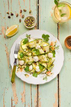 Zucchini, Bocconcini and Preserved Lemon Salad Recipe from Saputo Lunch Recipes, Summer Recipes, Salad Recipes, Healthy Recipes, Healthy Food, Lemon Salad Recipe, Saputo Cheese, Preserved Lemons, Fresh Coriander