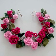 Pink Rose Garden Bracelet Polymer Clay by beadscraftz on Etsy, $125.00