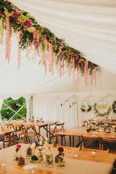 A Nature Inspired DIY Wedding on World Gin Day, with a Bride in Betsy, by Jenny Packham Hanging flower decor inside a wedding marquee. Everything DIY and handmade. Wedding Flower Decorations, Diy Wedding Flowers, Wedding Centerpieces, Floral Wedding, Diy Marquee Decorations, Wedding Marquee Decoration, Floral Decorations, Flowers Decoration, Bouquet Wedding